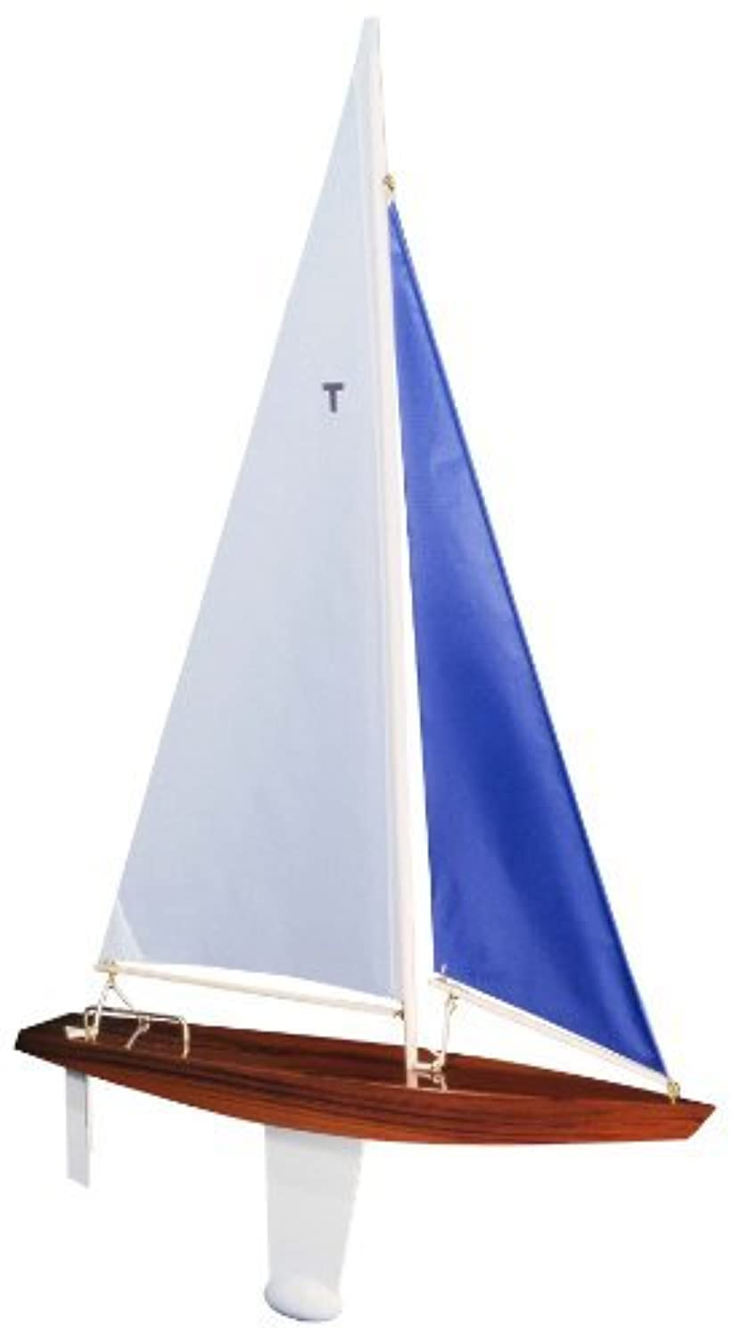 T Class Racing Sloop Finished (White/blue) - Floating Model Sailboat, Toy Sailboats that Sail, Toy Sailboats that Float, Toy Sailboat Wood, Toy Sailboat Wooden - It Really Sails! by Tippecanoe Boats [並行輸入品]