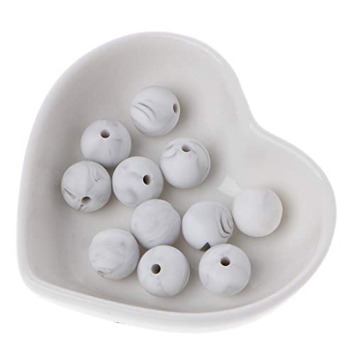 静的弁護人大陸Landdum 10個シリコーンビーズ40#大理石ホワイトシリカビーズ赤ちゃんのおもちゃdiyおしゃぶりチェーンアクセサリー - 12ミリメートル