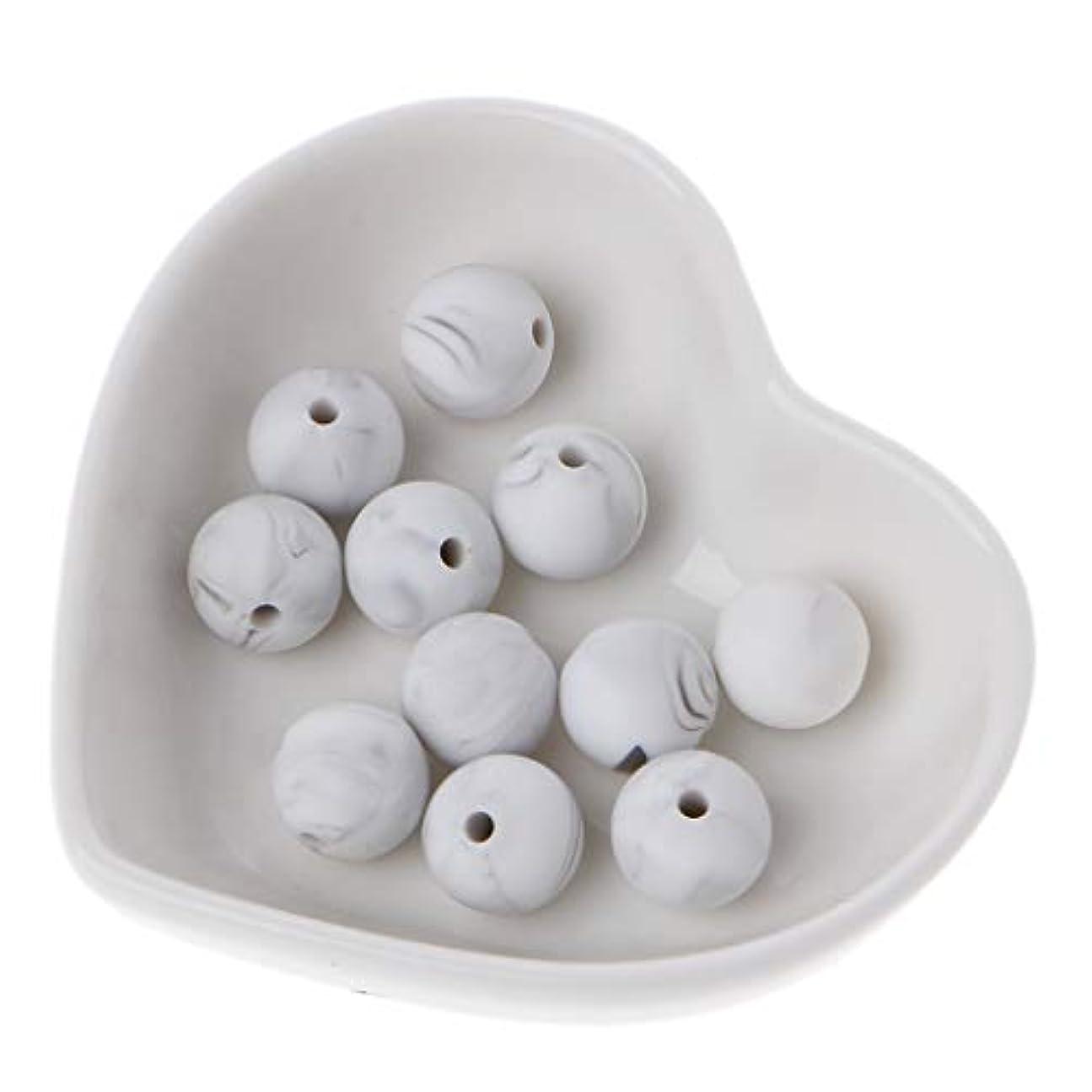 妖精無人重力Landdum 10個シリコーンビーズ40#大理石ホワイトシリカビーズ赤ちゃんのおもちゃdiyおしゃぶりチェーンアクセサリー - 12ミリメートル