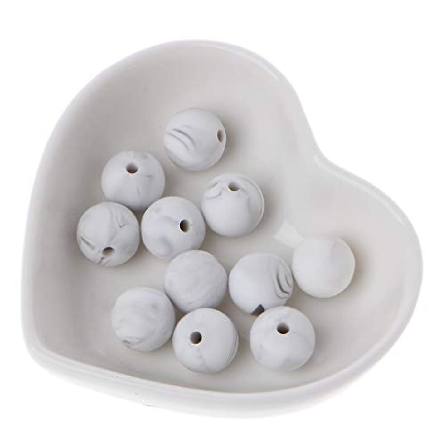 脅迫気づかないママLanddum 10個シリコーンビーズ40#大理石ホワイトシリカビーズ赤ちゃんのおもちゃdiyおしゃぶりチェーンアクセサリー - 12ミリメートル