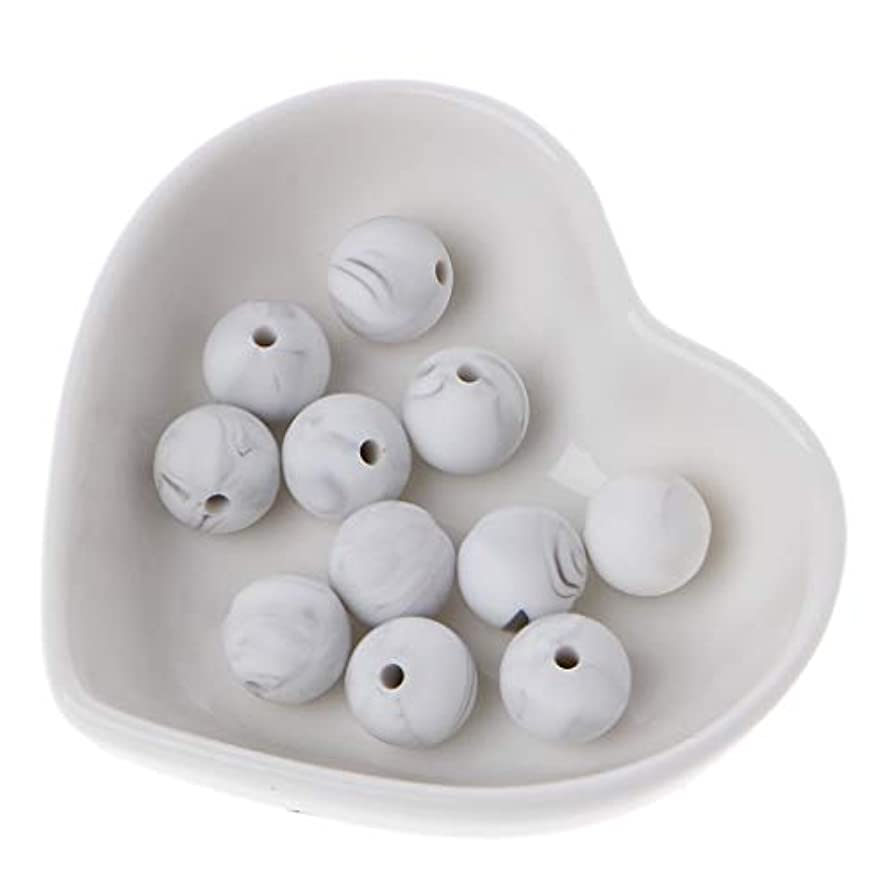 シャット排他的大人Landdum 10個シリコーンビーズ40#大理石ホワイトシリカビーズ赤ちゃんのおもちゃdiyおしゃぶりチェーンアクセサリー - 12ミリメートル
