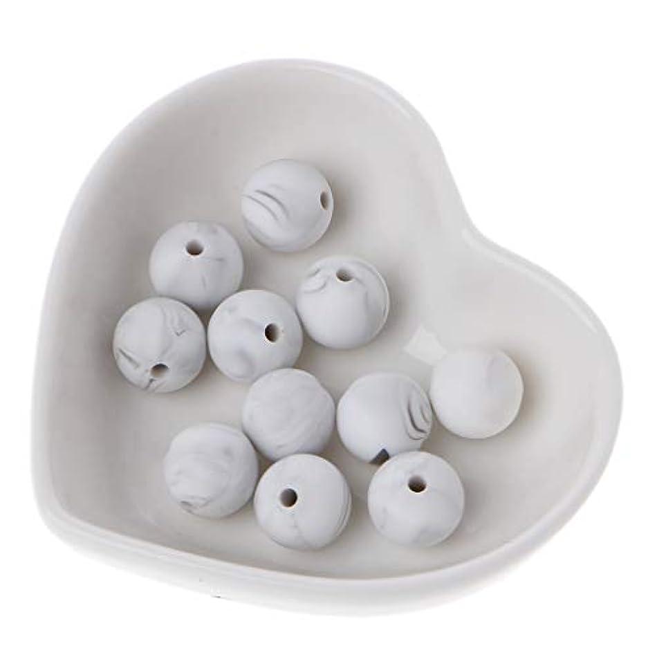 サイトライン誓い汚染Landdum 10個シリコーンビーズ40#大理石ホワイトシリカビーズ赤ちゃんのおもちゃdiyおしゃぶりチェーンアクセサリー - 12ミリメートル