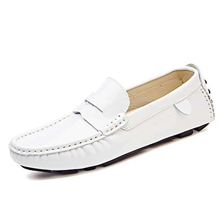 革靴 メンズ  ローファーシューズ モカシン カジュアル 通気性 快適なパテント レザーボートシューズ 通気