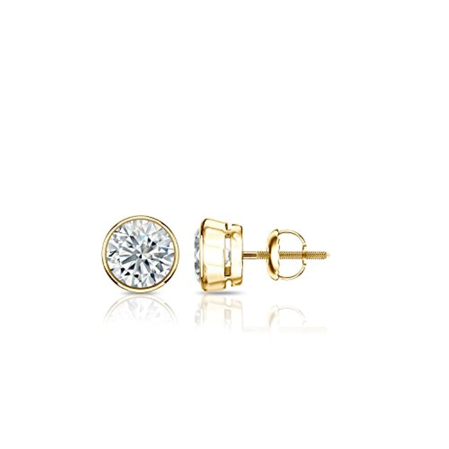 芝生三角形付属品14 Kイエローゴールドbezel-setラウンドメンズダイヤモンドスタッドイヤリング( 1 / 5 – 2 ct、Oホワイト、i2 - i3 ) screw-back
