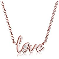 Elli Women Wording Lettering Basic Swarovski Crystals 925 Silver Rose Gold Plated Necklace