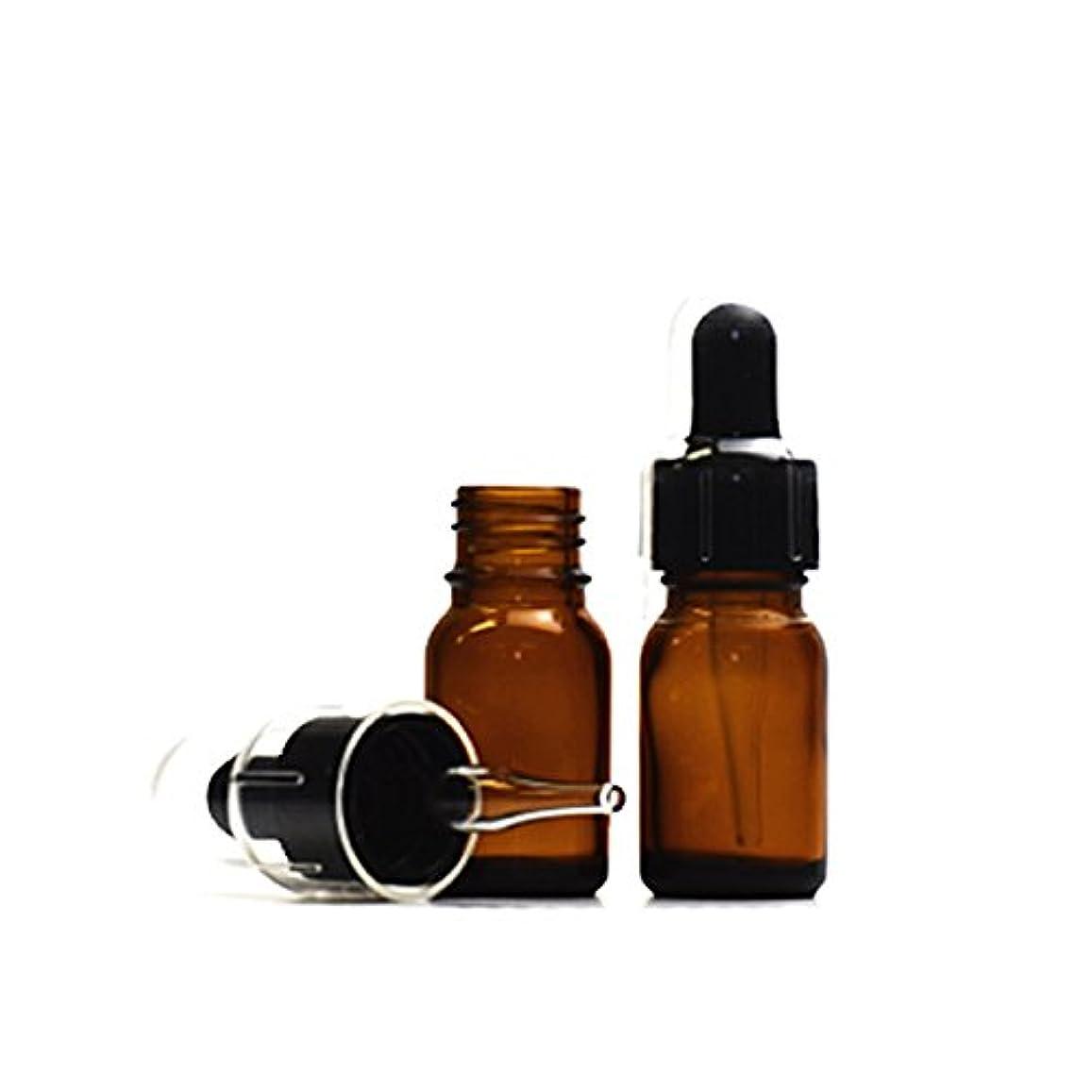 宣教師アーティスト最小化するスポイトキャップ付茶色遮光瓶10ml (2本セット) (黒/ガラススポイトキャップ付/オーバーキャップ付)