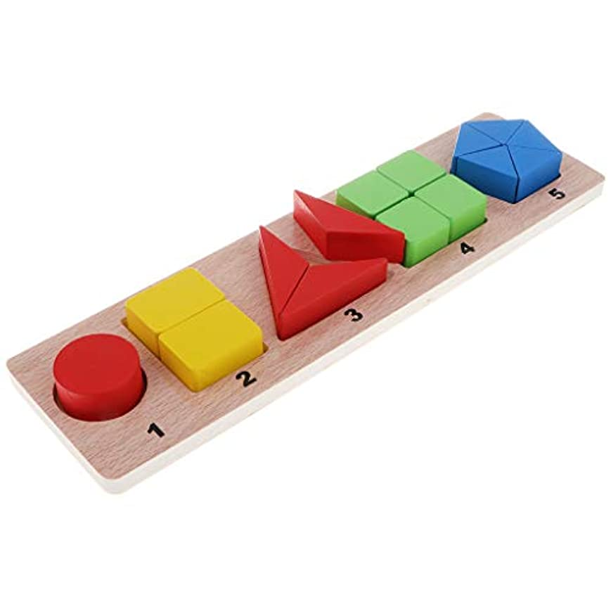日記勧めるあごひげ木製 パズル 色や形 幾何学形状 はめこみ 教育おもちゃ  - #3