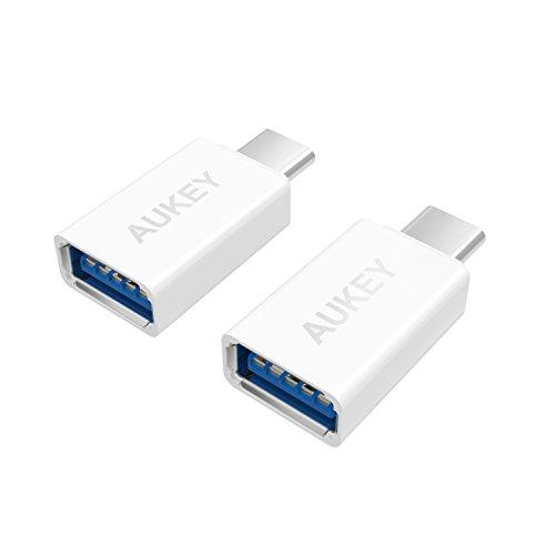 【2点セット】 AUKEY USB C to USB 3.0 変換アダプタ Type cコネクタ 56Kレジス OTG機能対応 新しいMacBook Pro、MacBook、Chromebook Pixel、Nexus 6P、Nexus 5X、OnePlus 2 に対応 高速転送可能 CB-A1(ホワイト)