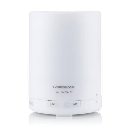 HAMSWAN超音波エッセンシャルオイルディフューザーアロマディフューザー加湿器300 ml 3タイマー設定7色LEDライト大容量リビングルーム/オフィス/子供部屋/ヨガ室/スパルームに最適