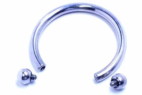 サーキュラー バーベル ボディピアス 8G ボディーピアス ネジ式 アーチ型 蹄鉄 ステンレス スチール インターナル 片耳 (内径xボールサイズ)25x6mm バラ売り プレゼント パーティー