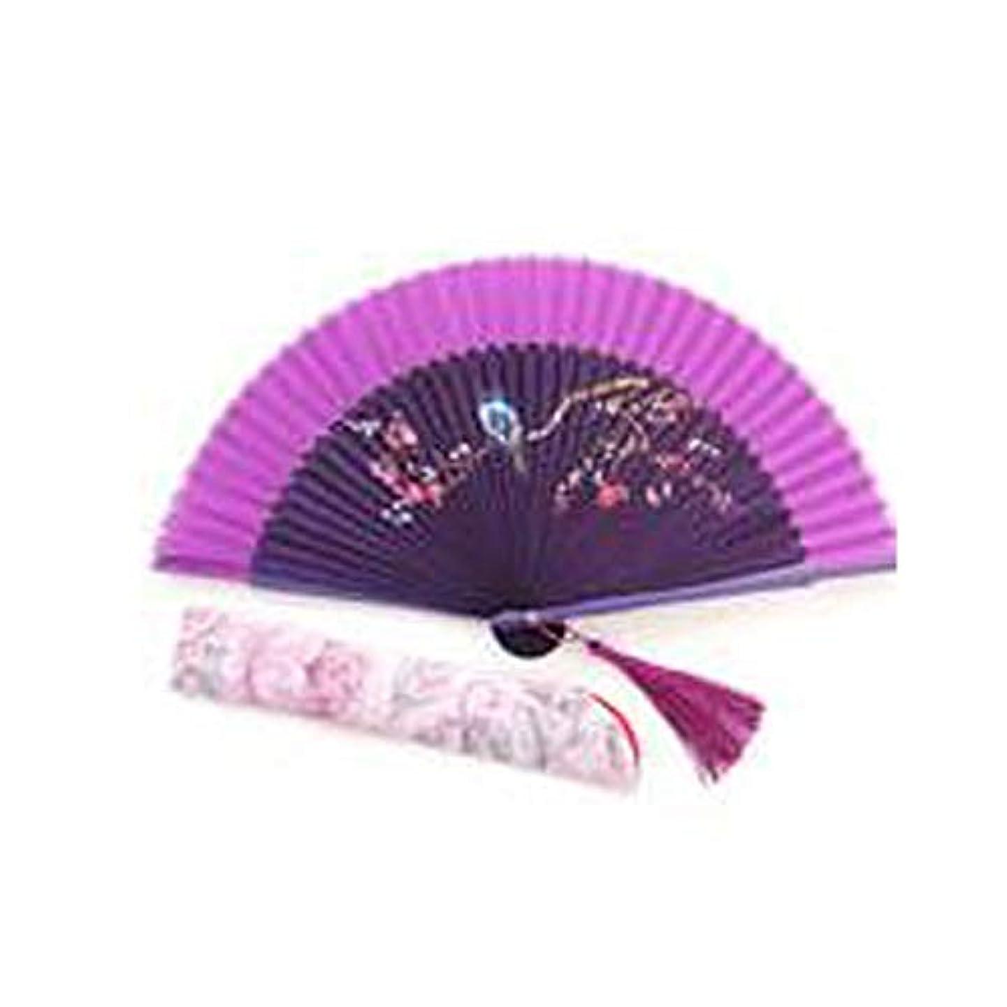 わずらわしいモロニック致命的なQIANZICAI ファン、中国風の竹布扇子、舞台小道具、ホームアクセサリー、サイズ21センチメートル折りたたみ。 ファン (Color : Purple)