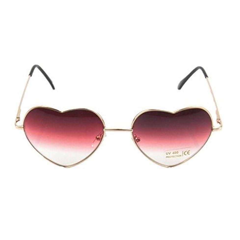 最終的に熟した注目すべきKRY Design By Japanese 桃心 ハート型 サングラス UV400 紫外線カット太陽眼鏡 高級 メタル?フレーム アビエイター 渐变色レンズ 芸能人風 小顔効果 メガネ 男女兼用 フリーサイズ 5色 (レッド)