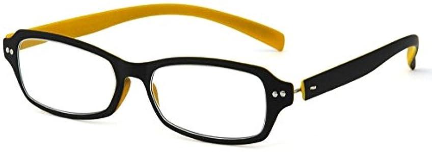数学者考えたダニデューク 老眼鏡 +1.0 度数 ネオクラシック 超軽量フレーム ソフトケース付き マットブラック マットイエロー GLR01-9+1.00