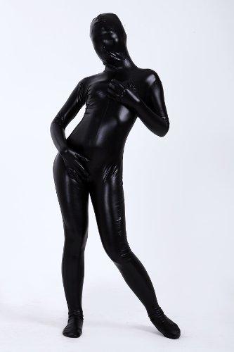 光沢 メタリック 全身タイツ 黒色 (M03-6H) 女性Lサイズ
