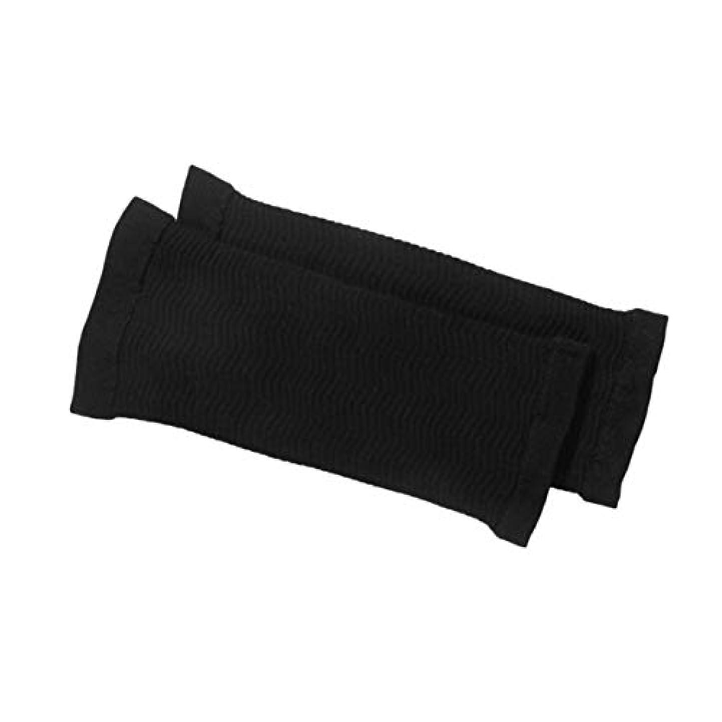 摘む電気印象的な1ペア420 D圧縮痩身アームスリーブワークアウトトーニングバーンセルライトシェイパー脂肪燃焼袖用女性 - 黒