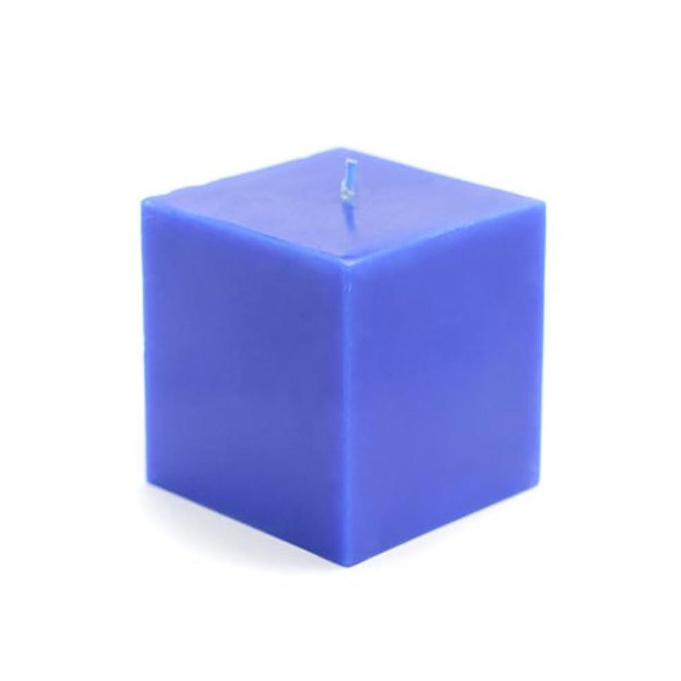 意義柔和実験室Zest Candle CPZ-134-12 3 x 3 in. Blue Square Pillar Candles -12pcs-Case- Bulk