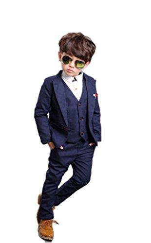 b3641086395bc iikuru 子供 スーツ 男の子 キッズ スーツ フォーマル 3点セット ( ジャケット ズボン ベスト ) 紺