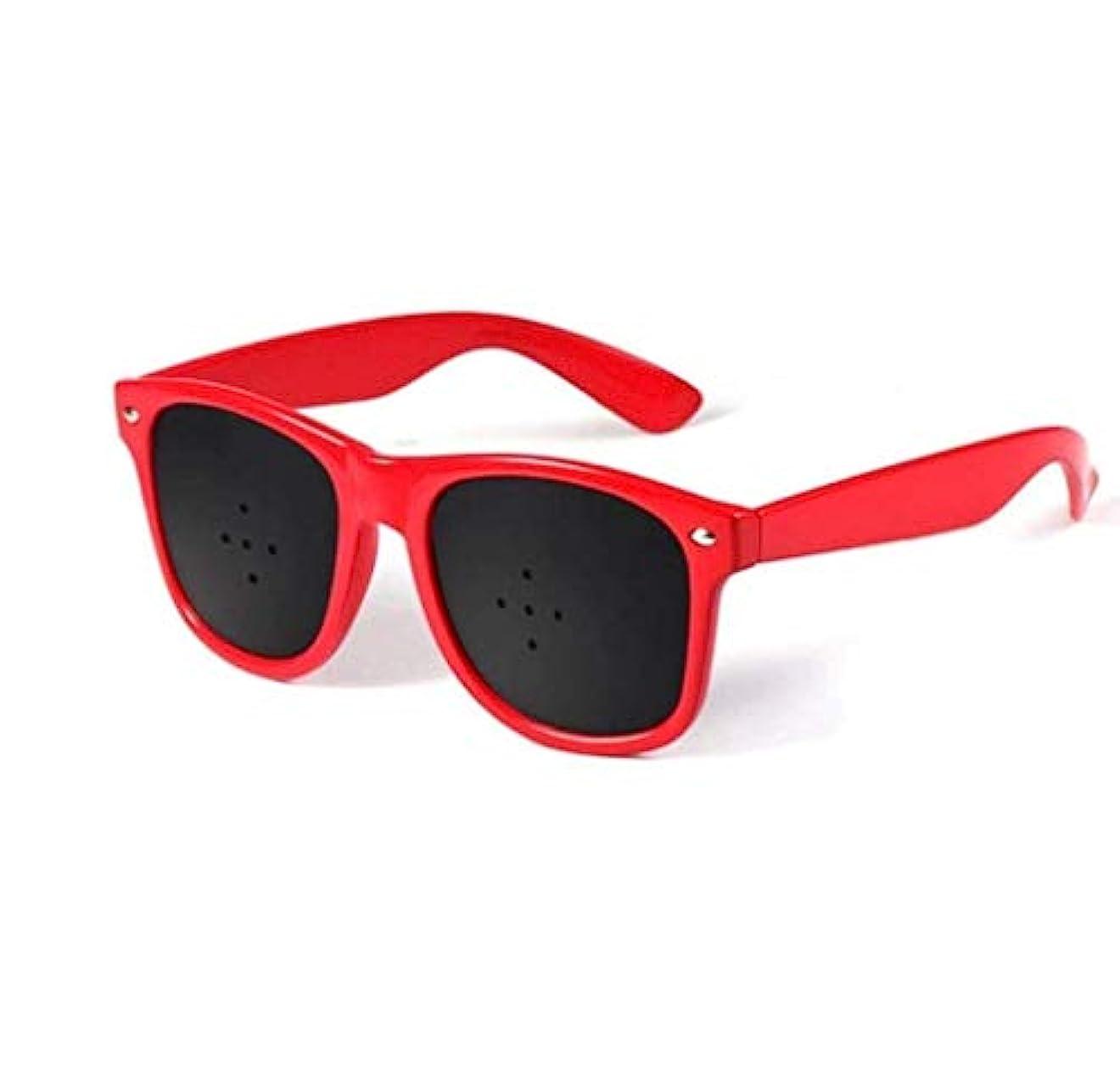 好むカウントアップ物語ピンホールメガネ、視力矯正メガネ網状視力保護メガネ耐疲労性メガネ近視の防止メガネの改善 (Color : 赤)