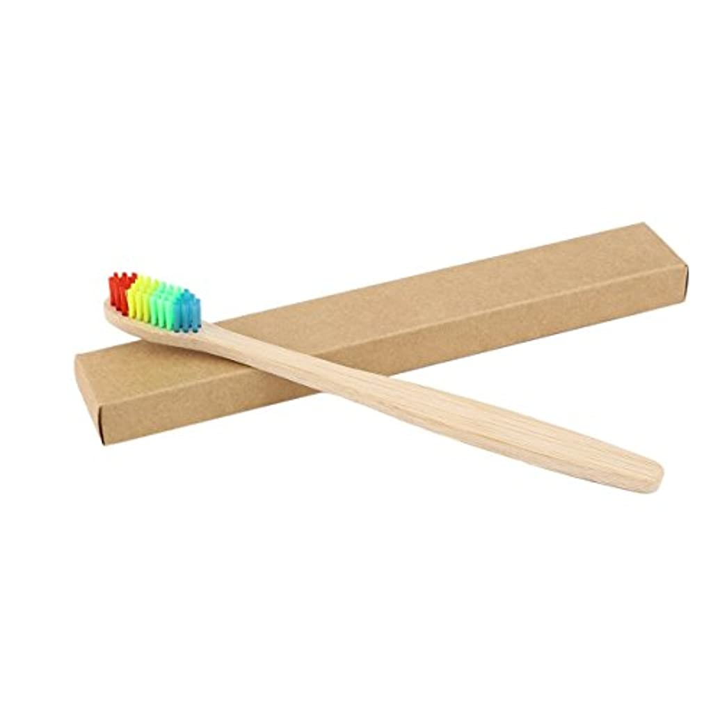 グリット未接続カジュアルカラフルな髪+竹のハンドル歯ブラシ環境木製の虹竹の歯ブラシオーラルケアソフト剛毛ユニセックス - ウッドカラー+カラフル
