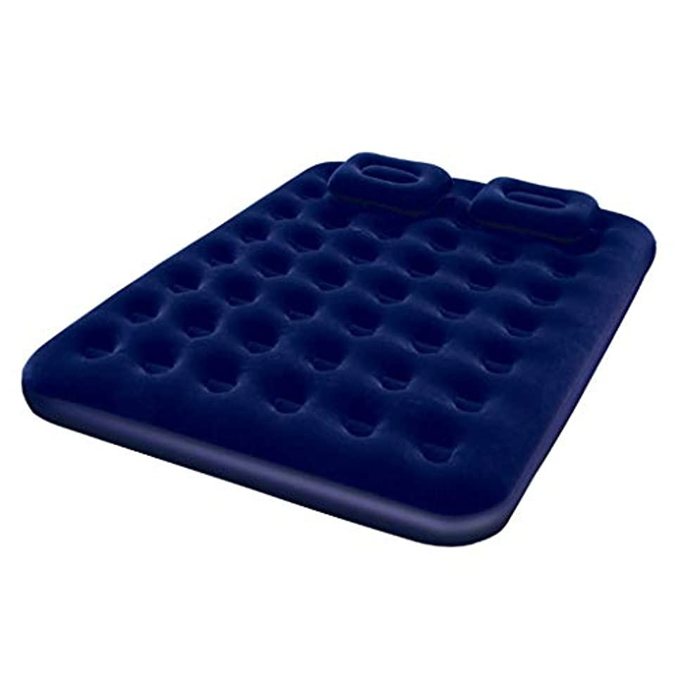 ビーチセンブランスクリップベッド、屋外用ポータブルベッドを歩くことによって膨脹可能なマットレスのエアクッションのキャンプ旅行(色:青)