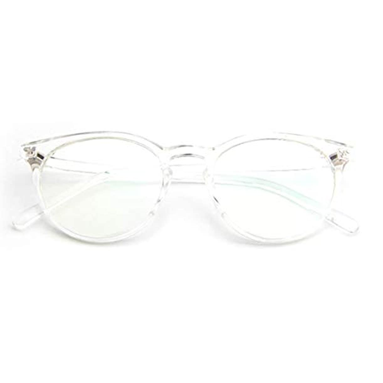 宝石クッションかもめ小さな新鮮な米ネイルフレームレンズレトロ古風な円形フレームファッションフレーム男性用近視眼鏡女性-透明な白