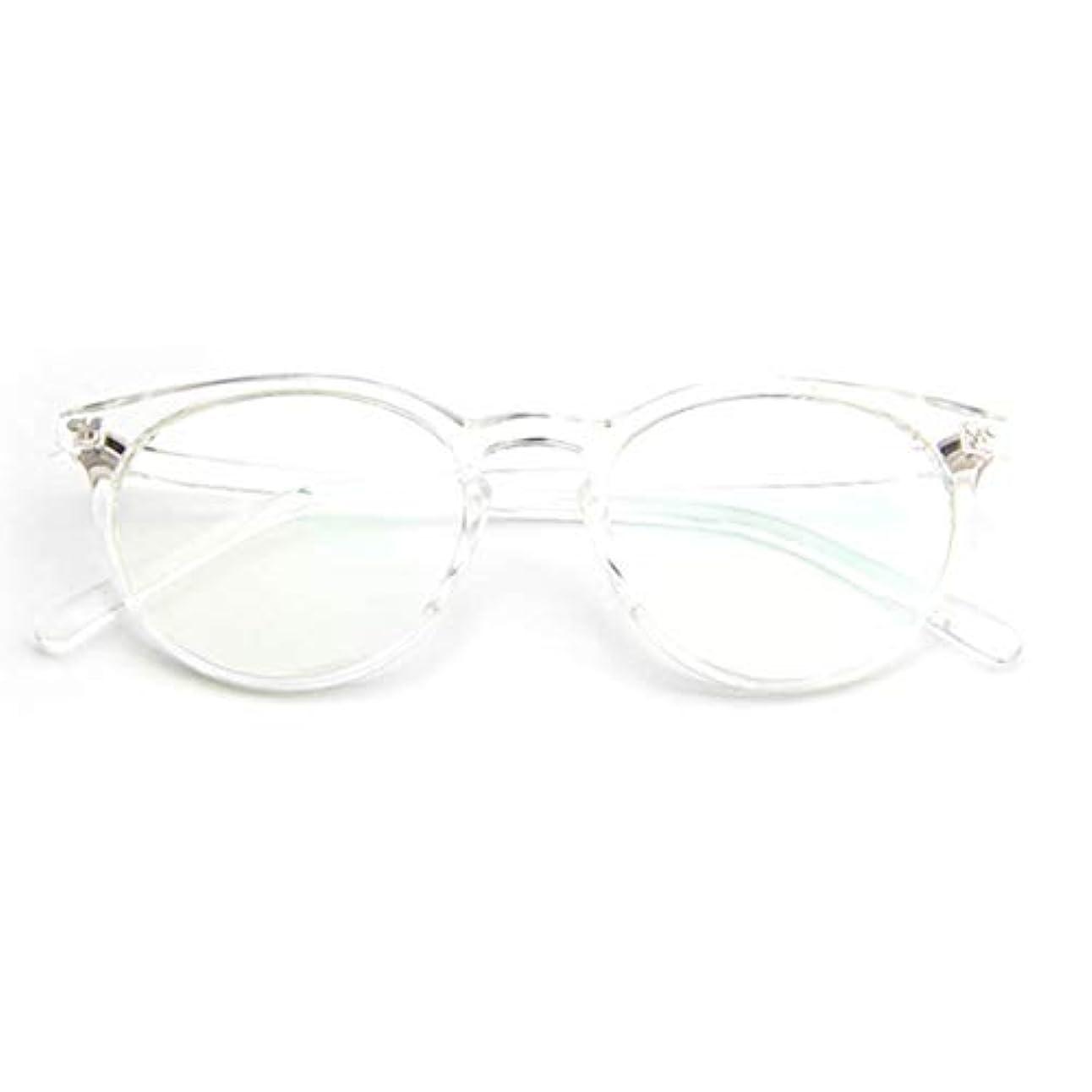 観光に行く武器ワイド小さな新鮮な米ネイルフレームレンズレトロ古風な円形フレームファッションフレーム男性用近視眼鏡女性-透明な白