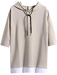 (Make 2 Be) メンズ 7分袖 Tシャツ フード付き ゆったり ドロップショルダー レイヤード カジュアル シャツ プルオーバー MF74