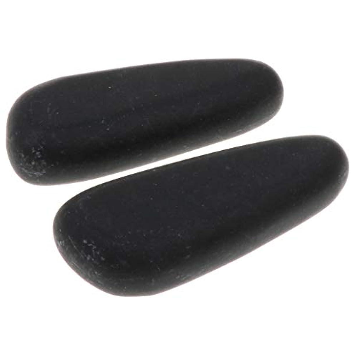 クラフトサーマル優先Fenteer 全2サイズ ホットストーン マッサージ石 マッサージストーン 玄武岩 ボディマッサージ スパ 2個入 - 8×3.2×2cm