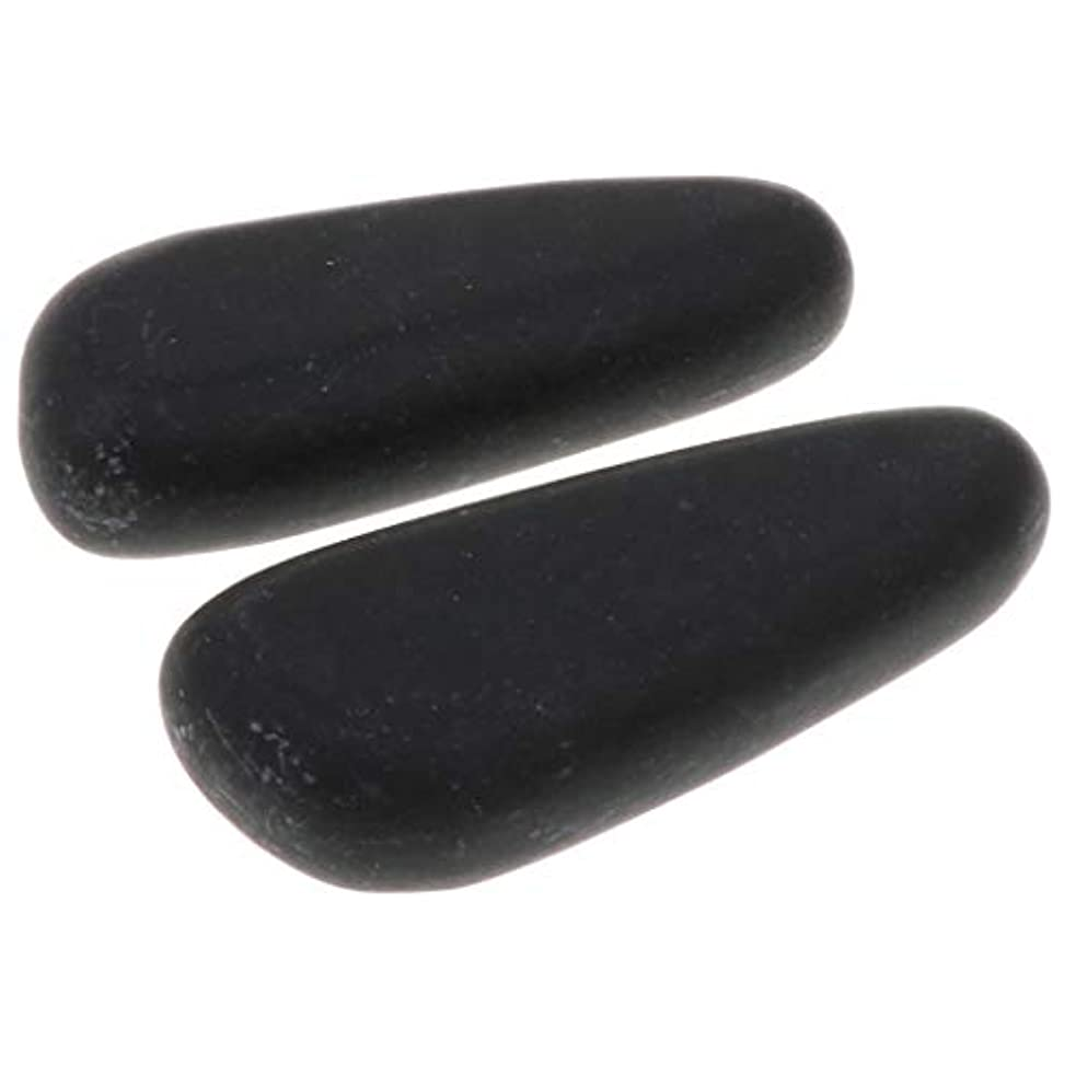 小麦粉接地途方もないFenteer 全2サイズ ホットストーン マッサージ石 マッサージストーン 玄武岩 ボディマッサージ スパ 2個入 - 8×3.2×2cm