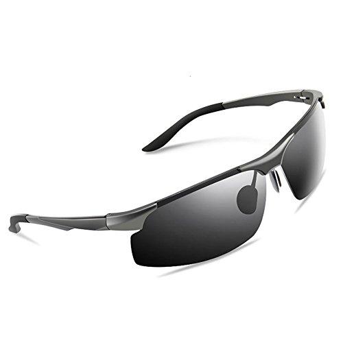 CHENGFA サングラス メンズ スポーツサングラス 偏光レンズ UV400 紫外線カット 運転用 ケース メガネ拭き付き ブラック