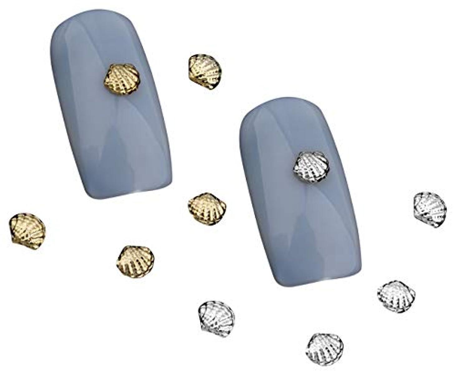 雇用者くしゃみ手がかりTianmey シェル3Dゴールドシルバー合金ネイルズアートラインストーンの装飾チャームジュエリーネイルツール