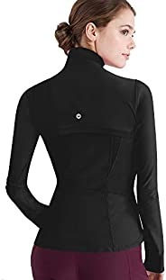 Lock and Love Women's Full Zip-up Yoga Workout Running Track Jacket with Thumb H