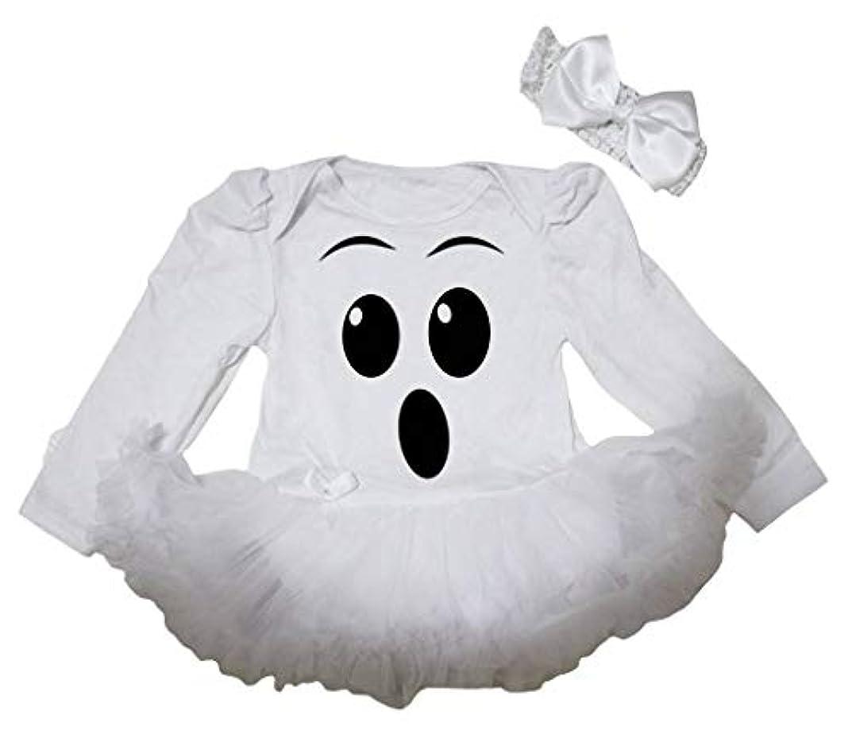 ブース検証アカウント[キッズコーナー] お化けの顔 ホワイト 長袖 ボディスーツ ホワイトのチュチ、コスチューム、子供のチュチュ、ベビー服、女の子のワンピースドレス Nb-18m (ホワイト, Large) [並行輸入品]