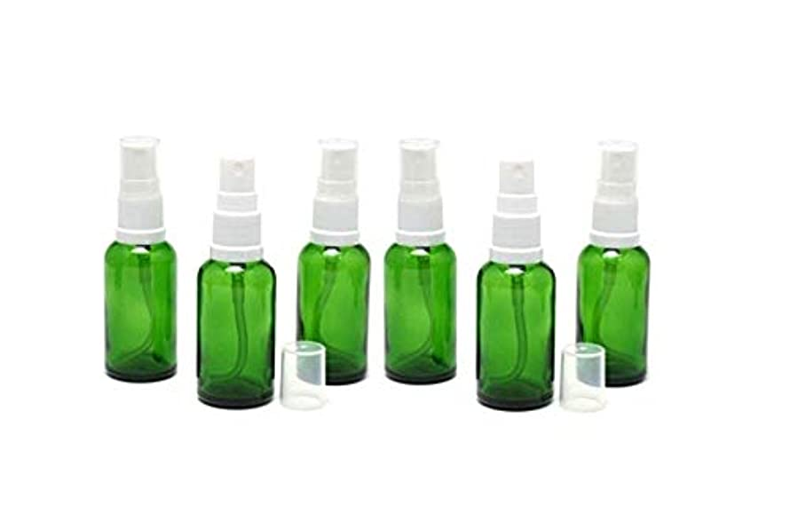 近所のにんじんゾーン遮光瓶 スプレーボトル (グラス/アトマイザー) 30ml グリーン/ホワイトヘッド 6本セット 【 新品アウトレットセール 】