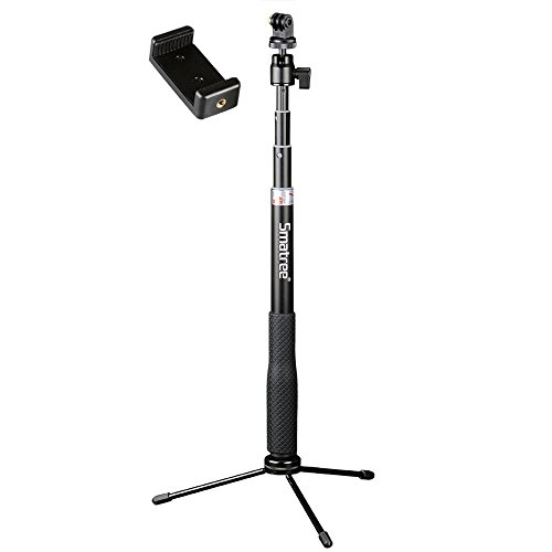 Smatree GoPro Hero2018/Fusion/Hero6/Hero5,4,3,1/4ネジ穴コンパクトカメラRICOH THETA V/S 対応一脚兼簡易三脚自撮り棒 防水 (QS)