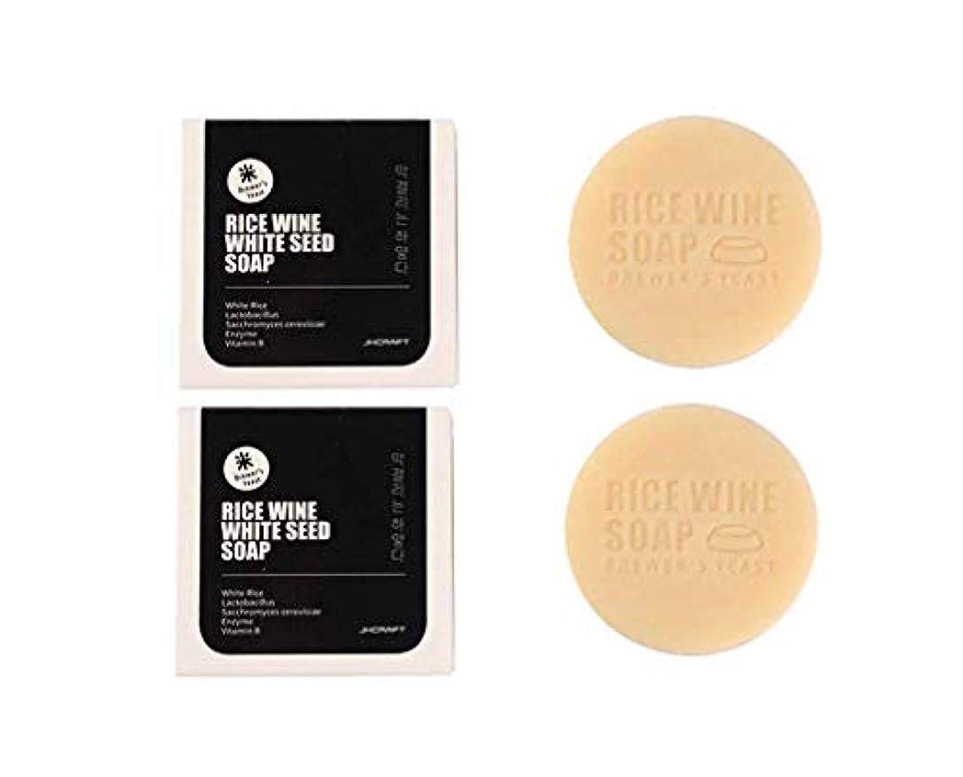 句不良品憂慮すべきJKCRAFT RICEWINE WHITE SEED SOAP マッコリ酵母石鹸,無添加,無刺激,天然洗顔石鹸 2pcs [並行輸入品]