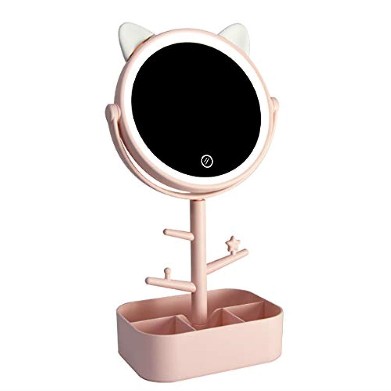 人物マイクロプロセッサプレーヤーLecone LED化粧鏡 女優ミラー 卓上ミラー 180度調整可能 スタンドミラー LEDライト メイク 化粧道具 円型 収納ケース 可収納 USB給電 (猫ーピンク)