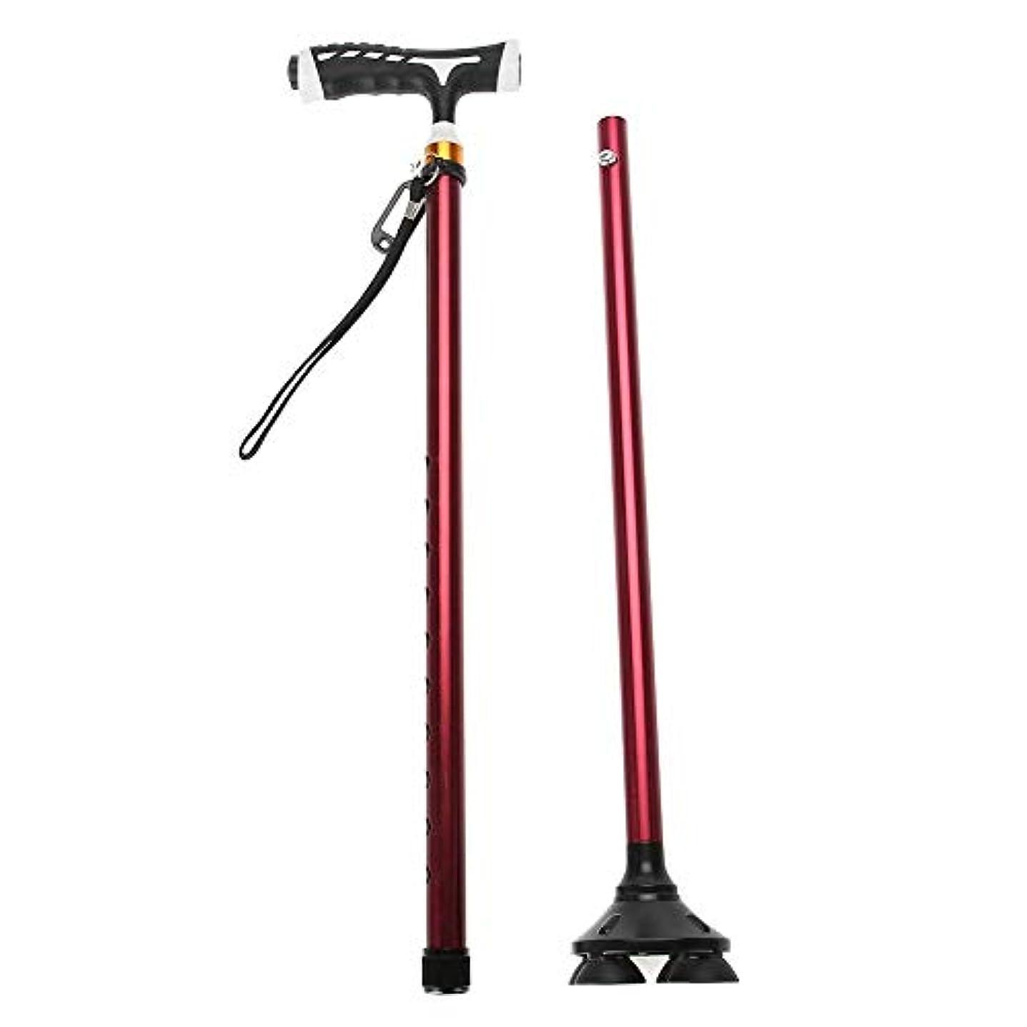 晴れ足活気づく折りたたみ杖 ハンドルが付いている 高さ調節可能 アルミ合金 軽い 4叉 ピボット基盤 導き