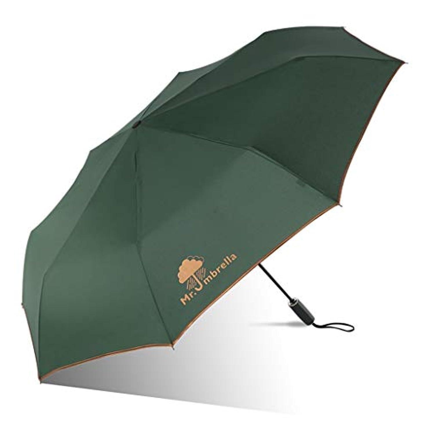 共同選択苦い耐える日傘、自動開閉開閉トラベル傘強化換気と防風フレームポータブルコンパクト折りたたみ式軽量設計と高風抵抗(青) (Color : Green, Size : L)
