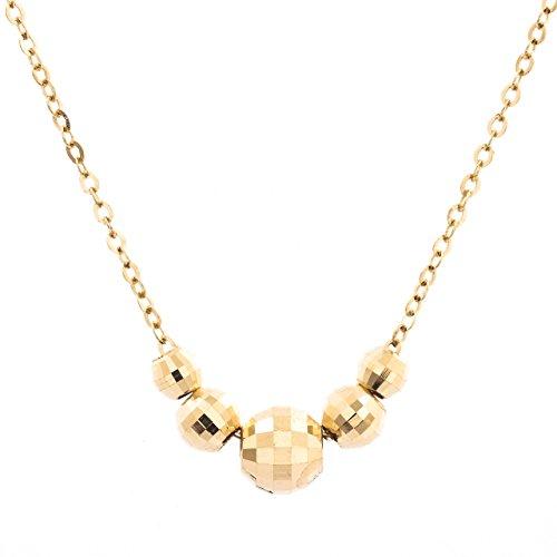 [해외]Strength 18K 목걸이 미러볼 5 개 옐로우 골드 알레르기 여성/Strength 18K Necklace Mirror Ball 5 pieces Yellow Gold Allergy Women`s