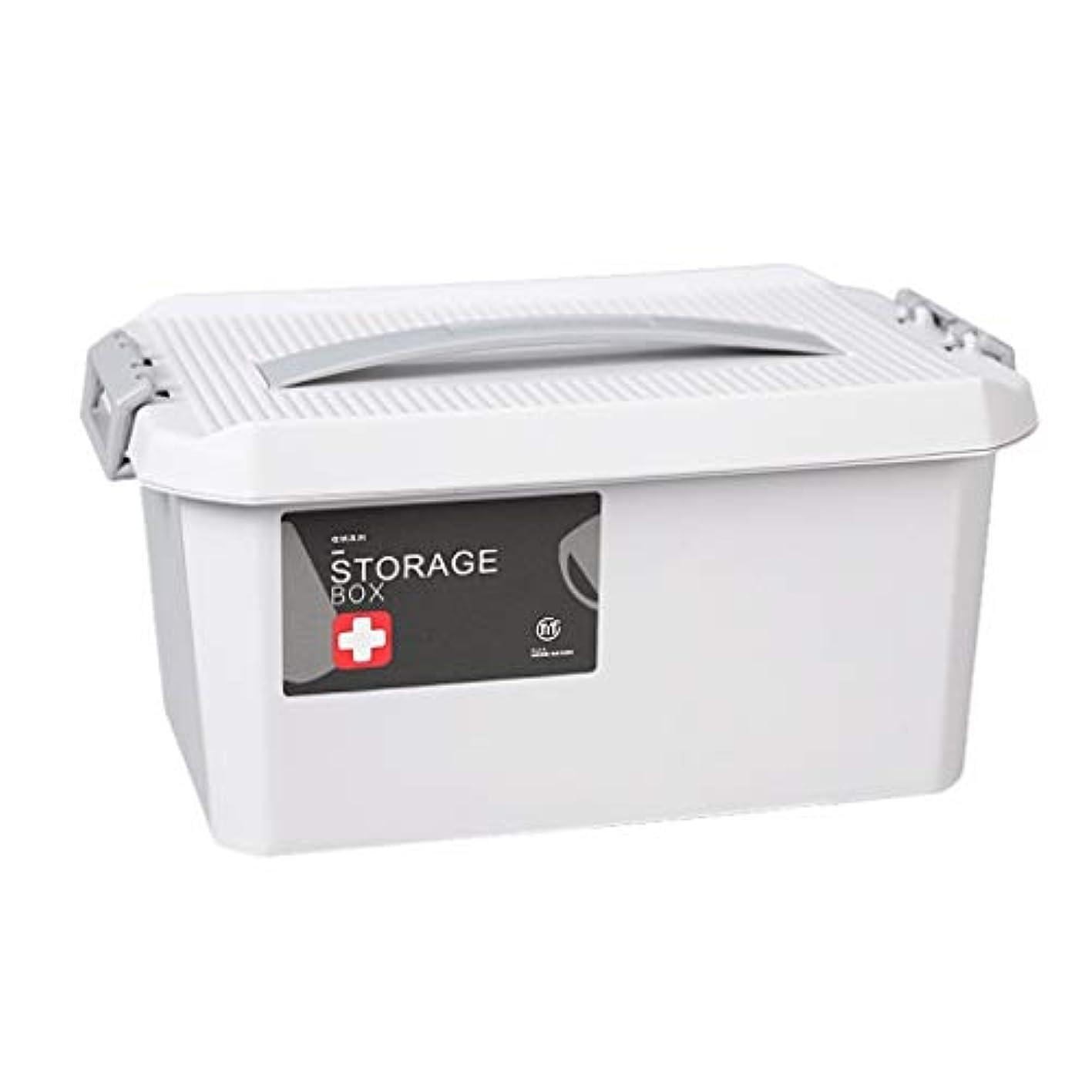 経過から秘書ピルボックスPP家庭用薬ボックス薬収納ボックス (色 : グレイ ぐれい, サイズ さいず : L24cm)