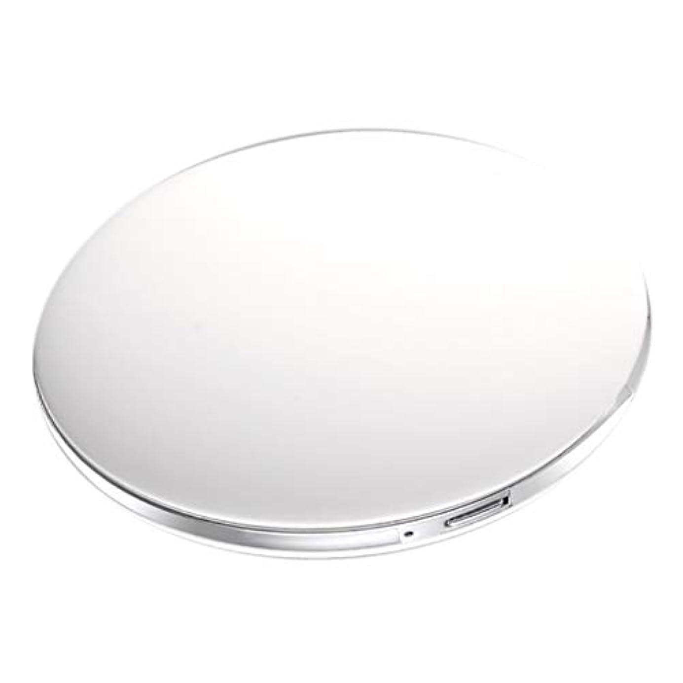 幼児振る舞う高速道路コンパクトミラー 拡大鏡付き 3倍 LED付き 化粧鏡 携帯ミラー 化粧鏡 手持式 持ち運び 全5色 - 白