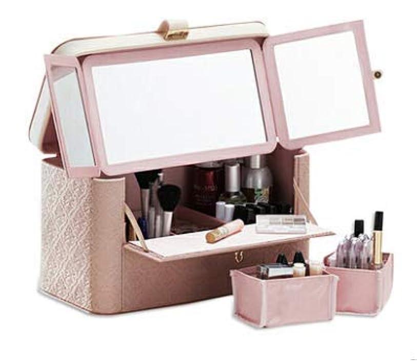 アンビエント周波数収益[World Win]カスタマイズ できる メイク ボックス コスメ ボックス 化粧箱 ドレッサー (ピンク)