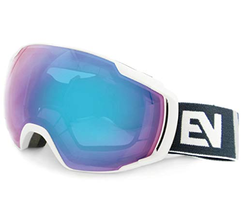 AREAONE スノーゴーグル スキー スノーボード 眼鏡対応 99%UVカット 曇り防止 男女兼用 球面レンズ 防風 防雪 防塵 山登り スキーなど用 GG-EV041 (マットホワイト, ピンク/ブルーREVO)