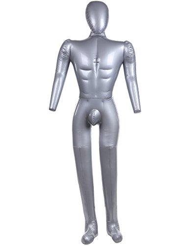 【INNOVATION FACTORY】 モデルに変身! エアー マネキン ビニール ボディー トルソー 足つき ディスプレイ ファッション 展示会 レディース 非木製 取扱説明書付 (全身腕脚付き(男性), シルバー)