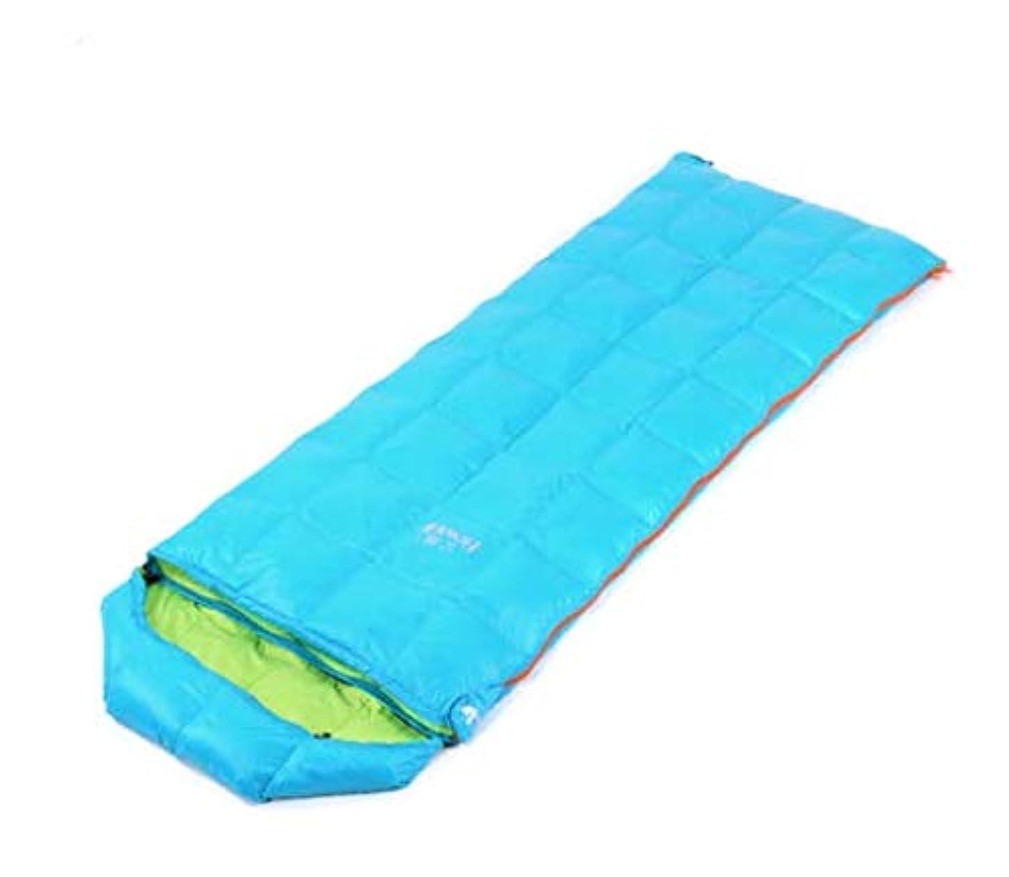 盆地賭けポンド大人の屋外の封筒のタイプ超寝袋寝袋春と秋のキャンプ用品寝袋暖かいアヒルを壊す (Color : スカイブルー)