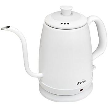 dretec(ドリテック) 電気ケトル ステンレス コーヒー ドリップ ポット 細口 1.0L PO-135WTDI(ホワイト)
