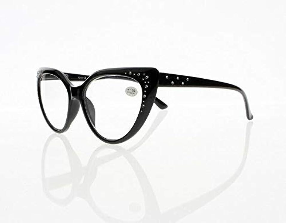 欠伸寂しい果てしないFidgetGear レディース3色高級キャットアイラインストーン老眼鏡+1.00?+4.00新 ブラック