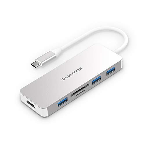 LENTION USB Type-C ハブ 6 in 1 4K HDMI Micro SD/SDカードリーダー UHS-I対応 (最大転送速度95MB/s) 2016...