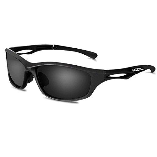 HiCool 偏光レンズ メンズ スポーツサングラス 超軽量UV400 紫外線 反射光 強光眩しい光 グレアからカット超抗圧 スポーツサングラス/ 自転車/釣り/野球/テニス/スキー/ランニング/ゴルフ/ドライブ